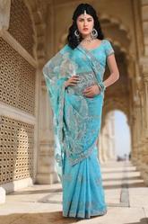 Turquoise Blue Embroidered Designer Saree