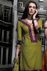 Mehndi Green Unstitched Cotton Salwar Suit