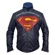 SUPERMAN Man of Steel Blue Leather Jacket | SUPERMAN Blue Leather Jack